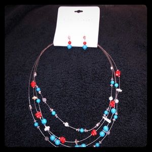 Ashley Cooper 4 Row Beaded Necklace & Earrings